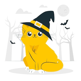Cat with a witch hat concept illustration
