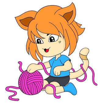 Cat woman children playing ball of yarn