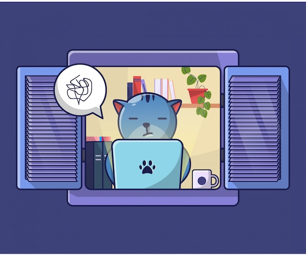 Cat work from home illustration