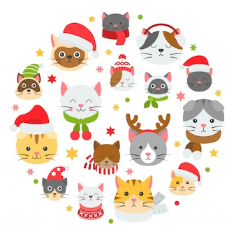 Cat xmas pattern and background