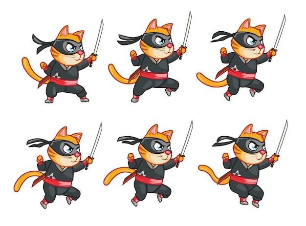 Игровой спрайт ниндзя cat