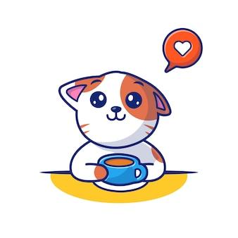 Cat пить кофе векторные иллюстрации. кот и чашка кофе