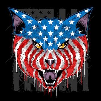 Catビーストヘッドアメリカフラッグカラーベクター