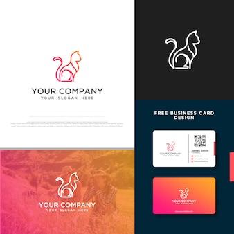 Логотип cat с бесплатным дизайном визитной карточки