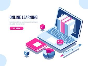 オンラインコース等尺性のアイコン、オンライン教育、インターネット学習のカタログ