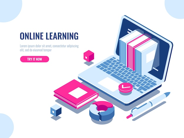Catalog of online courses isometric icon, online education, internet learning