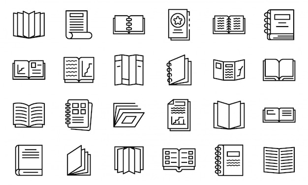 Catalogue icons set, outline style