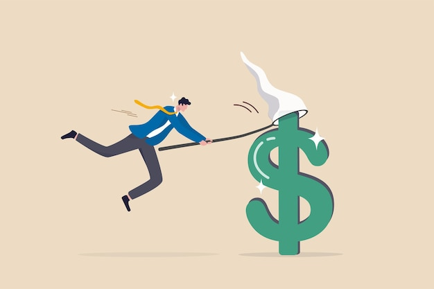 Catch bargain stock earning, investment opportunity with high profit return, get rich by earn more money and income concept, lucky businessman investor catching big dollar sign money with the net.