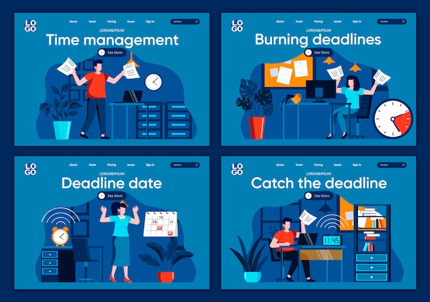 Catch the deadline flat landing pages set. stressful situation and overtime work, hurrying up with project scenes for website or cms web page. time management and burning deadlines illustration