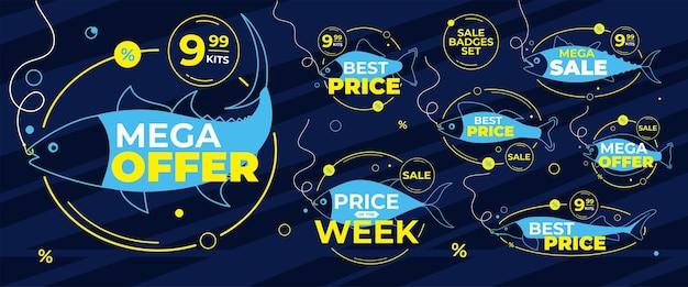 판매 및 할인을 위해 물고기 배지를 잡으십시오.
