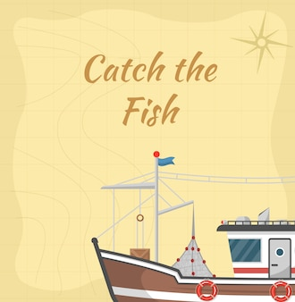 Catch the fish illustration with commercial small boat