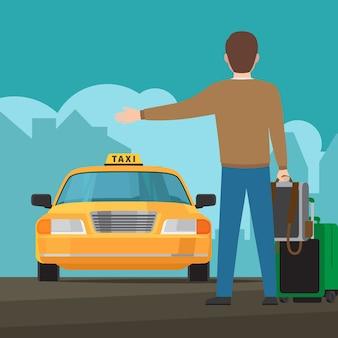 Catch a taxi concept illustration