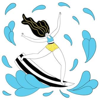 파도를 타는 서핑보드 소녀와 함께 독특한 벡터 손으로 그린 동기 스포츠 슬로건을 잡아라