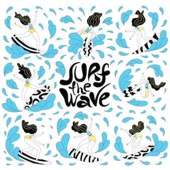 Catch the wave  unique vector handdrawn motivational sport slogan with surfboard girl riding waves