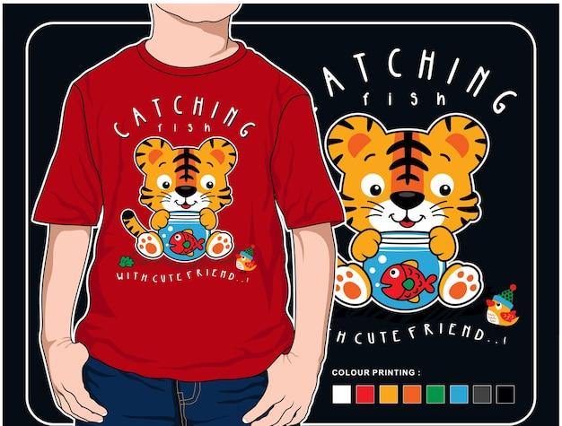 Catching fish vector animal cartoon illustration design graphic for printing