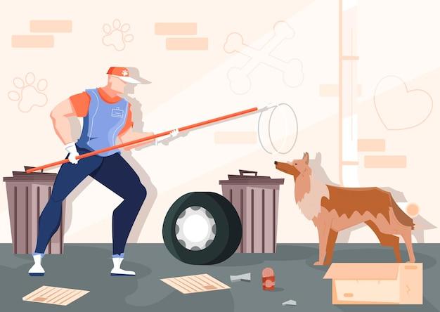 Ловля бездомных животных, плоская композиция с закоулками, мусором из кирпичной стены и человеком с дикой собакой