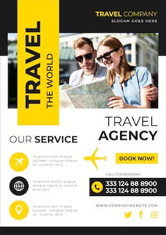 Catchy travelling sales flyer template with photo