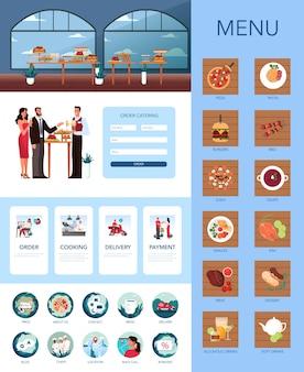 ケータリング広告バナーやウェブサイトセット。ホテルでのフードサービスのアイデア。レストラン、宴会、またはパーティーでのイベント。ケータリングサービスのwebアイコンとインターフェイス。図