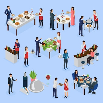 Catering banquet isometric icons