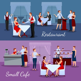 Catering compositions set with restaurant and small cafe symbols