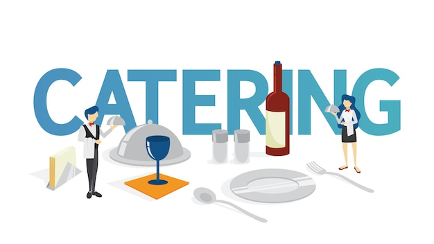 Catering concept. idea of food service at the hotel. event in restaurant, banquet or party.    illustration