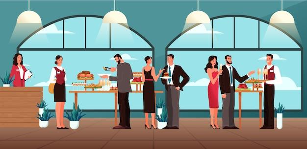 ケータリングの概念図。ホテルでのフードサービスのアイデア。レストラン、宴会、パーティーでのイベント。ケータリングサービスのwebバナー。図