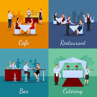 Catering concept vector image set with cafe and bar symbols