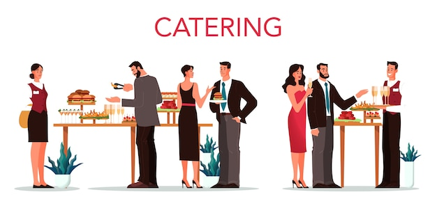 Catering  . idea of food ervice at the hotel. event in restaurant, banquet or party. catering service web banner.    illustration