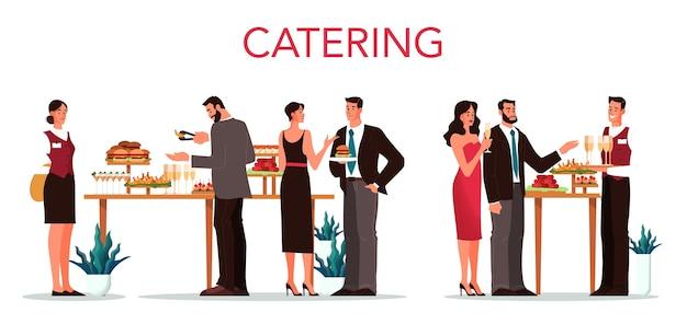 케이터링. 호텔에서 음식 서비스에 대한 아이디어. 레스토랑, 연회 또는 파티 이벤트. 케이터링 서비스 웹 배너. 삽화