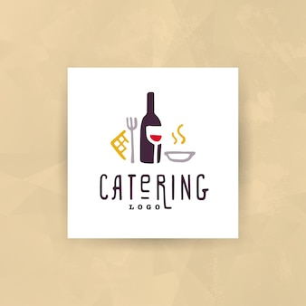 Catering and restaurant company logo set isolated on white background.