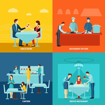 Catering service 4 flat icons square