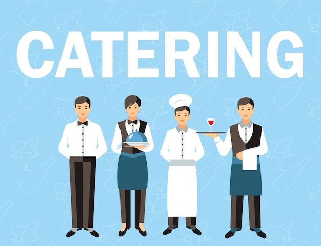 Catering service personnel word concept banner