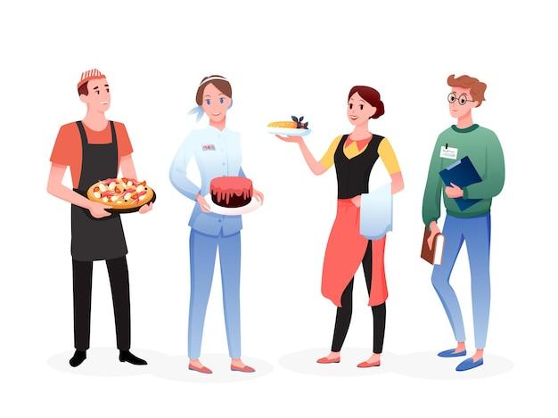 케이터링 서비스 노동자 사람들이 설정합니다. 행, 웨이트리스 요리사 판매자 세일즈맨 직업 직업에 함께 서있는 만화 행복 전문 남자 여자 캐릭터