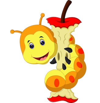 애벌레 먹는 사과 만화