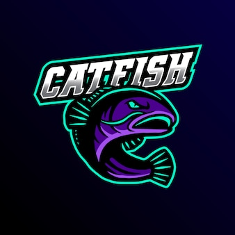 Catfish mascot log esport gaming illustration