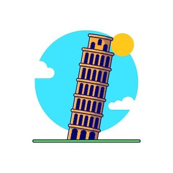 대성당 종탑 또는 피사의 탑 이탈리아 랜드마크 벡터 일러스트 레이 션 디자인