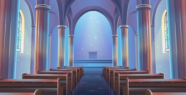 Собор вид на церковь внутри. интерьер католической церкви.