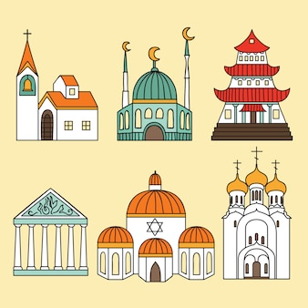 Cathedrals and churches icon set