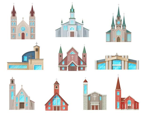 カトリック教会の建物のアイコン。孤立した大聖堂、礼拝堂、修道院のファサード。中世と現代の教会のデザイン、キリスト教の福音派の宗教的な漫画の建築の外観のシンボルセット