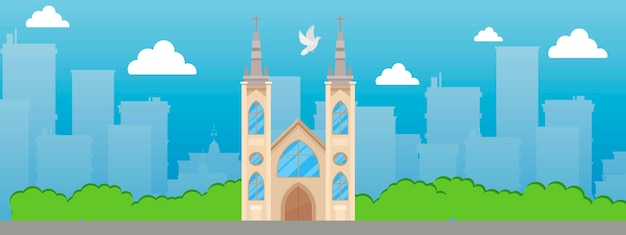 Католическая церковь с шпилем и витражами баннер вектор