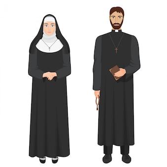 カトリックの司祭と修道女