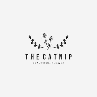 キャットニップリードクリークガマベクトルヴィンテージロゴ、ペットのコンセプトのための植物のイラストデザイン