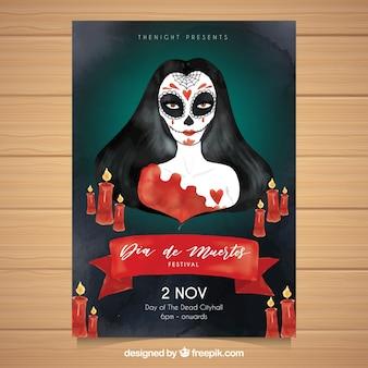 Poster catrina con candele acquerello rosse