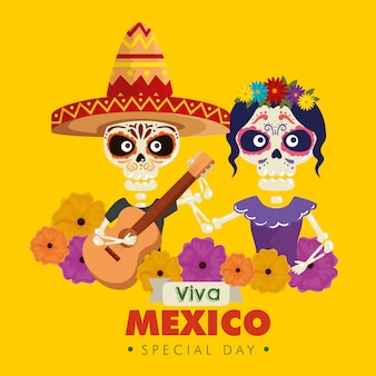 Catrina and skeleton man wearing hat with guitar and flowers