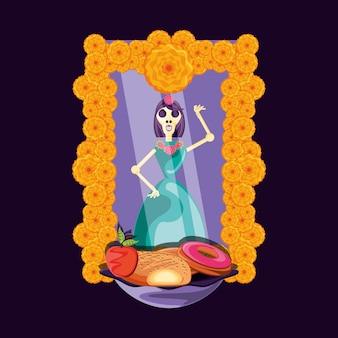 죽은 파티의 catrina skull day