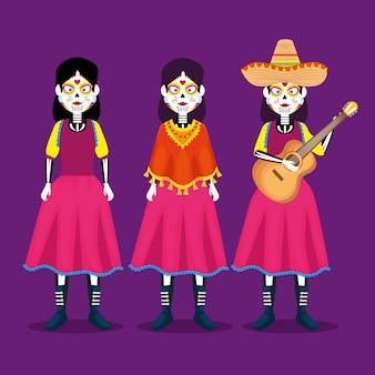 Catrina with hat and guitar to celebrate day of the dead