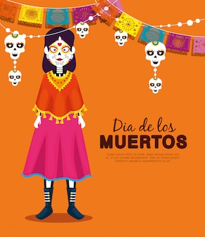 Catrina with skull party banner to celebrate event