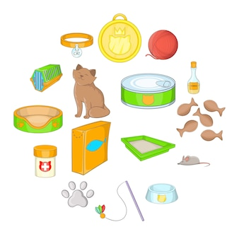 Cats accessories icon set, cartoon style