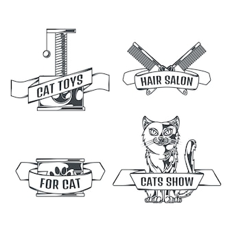 Cats and accessories set of logos in vintage style