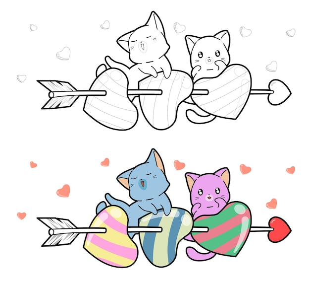 猫とハートの矢は子供のための簡単な漫画の着色ページ